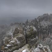 sächsische schweiz - blick von der schrammsteinaussicht auf die schrammsteine